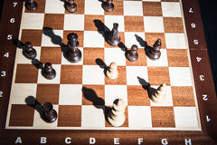 Chess on chessboard. Top view Royalty Free Stock Photography