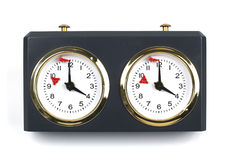 Chess Clock. Running out of time with the red flag about to fall. Twelve o'clock. Noon Stock Photography