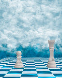 Chess In The Clouds Background Stock Image