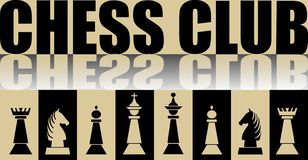Chess club banner with chess pieces and mirror effect. Vector illustration royalty free illustration