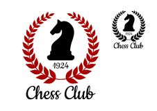 Chess club emblem with horse figure. Chess club logo or emblem with black silhouette of horse figure bordered laurel wreath with date of foundation in two colors Stock Image