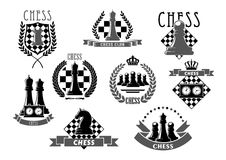 Chess club emblems and vector icons. Chess club vector icons of chessboard and chessman game pieces king and queen, rook or pawn and knight bishop. Isolated Royalty Free Stock Images