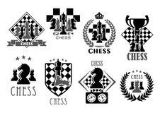 Chess club and game contest vector icons. Chess club icons for chessplayer game contest or competition. Vector symbols of victory goblet cup prize on chessboard Stock Photo