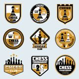 Chess club labels. Business strategy vector logos and emblems. Game chess logo tournament and championship illustration Stock Photography