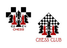 Chess club sport emblems or symbols. With chessmen ant turned chess board Royalty Free Stock Images