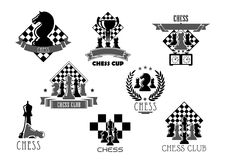 Chess club or tournament icon for sporting design. Chess club icon set. Chess board and pieces of king, knight, queen, pawn, rook and bishop with trophy or stock illustration