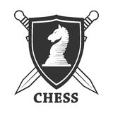 Chess club vector horse and shield label or badge icon template. Chess club logo template. Vector isolated badge of horse chessman on heraldic shield with Royalty Free Stock Photography