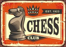 Chess club vintage tin sign design concept. Chess club vintage tin sign with knight chess piece on old background Stock Images