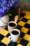 Chess and coffee Royalty Free Stock Images
