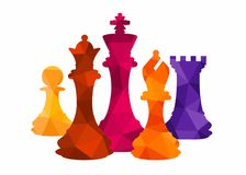Chess colorful figures pieces tournament game vector illustration. Design Royalty Free Stock Photography