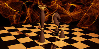Chess Composition with abstract background Royalty Free Stock Images