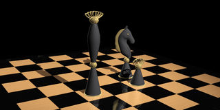 Chess Composition in black background Royalty Free Stock Photo