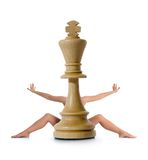 Chess composition with girl Stock Image