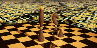 Chess Composition at seamless technology background Royalty Free Stock Images