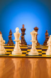 Chess concept with pieces. On the board Royalty Free Stock Image