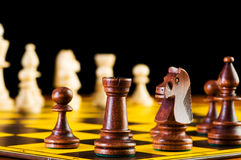 Chess concept with pieces. On the board Stock Images
