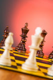 Chess concept with pieces. On the board Stock Photo