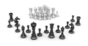 Chess concept - white team under attack Royalty Free Stock Photo