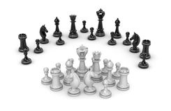 Chess concept - white team under attack Stock Images