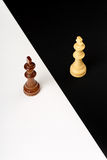 Chess concept. Wooden chess kings on black and white, abstract concept Royalty Free Stock Image