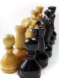 Chess confrontation. Represents concept of confrontation, face-off, opposition etc Stock Photography