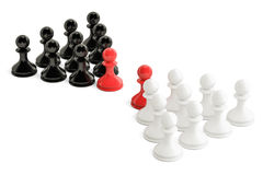 Chess, confrontation and opposition concept with two leaders. 3D Royalty Free Stock Image