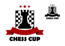 Chess cup logo or emblem template. Including black rook on chess board decorated red stars and ribbon banner with copy space vector illustration