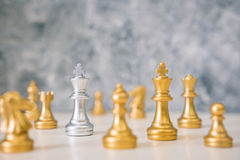 Chess different or leadership or bravery with copy space. Vintage tone, leadership business concept Stock Photography