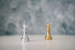 Chess different or leadership or bravery with copy space. Vintage tone, leadership business concept Royalty Free Stock Images