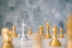 Chess different or leadership or bravery with copy space. Vintage tone, leadership business concept Royalty Free Stock Photo
