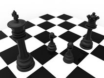 Chess divorce concept. 3D rendered illustration of the divorce concept. The composition illustrates a king and a queen pieces in different directions and two Royalty Free Stock Photo