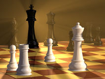 Chess duel. Chess pieces and board with dramatic lighting. Digital illustration Royalty Free Stock Photo