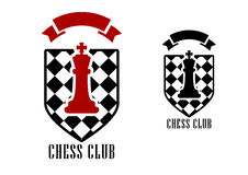 Chess emblem with king on checkered shield. Chess club logo or emblem template including figure of red king on chess board shield decorated red ribbon banner royalty free illustration