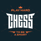 Chess emblem with original lettering and motivating slogans. Vec Royalty Free Stock Images
