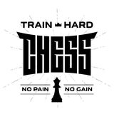 Chess emblem with original lettering and motivating slogans. Vec Stock Images