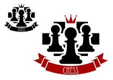 Chess emblem with pawns on chessboard background. Black chess pawns on chessboard with red crown and ribbon banner with text Chess for sporting tournament badge Royalty Free Stock Image