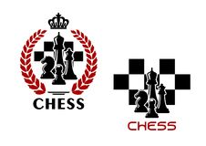 Chess emblems with chessmen and chessboard Royalty Free Stock Images