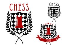 Chess emblems with rook on chessboard shield Royalty Free Stock Photography
