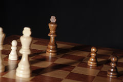 Chess endgame - king under pressure Stock Photography