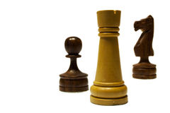 Chess Exchange. Two black pieces as a compensation for a white rook royalty free stock image