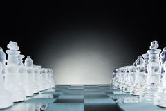 Chess face to face, first step. Copy space for text Royalty Free Stock Photography