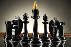 Chess face to face, first step. Copy space for text.  royalty free stock image