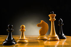 Chess face to face, first step. Copy space for text Royalty Free Stock Image
