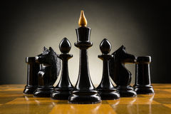 Chess face to face, first step. Copy space for text Royalty Free Stock Photo