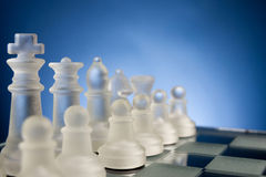 Chess face to face, first step. Copy space for text Royalty Free Stock Photos