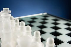 Chess face to face, first step. Copy space for text Stock Photos