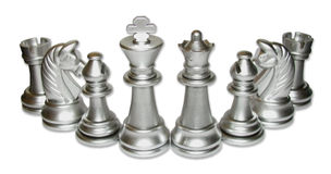 Chess Family Gathering. Silver chess family gathering. White background. Isolated image. Family relationship type stock photo