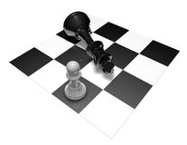 Chess fight black and white 3d illustration. Courage and power concept Stock Photography