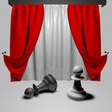 Chess fight business concept with pawns on stage Stock Images