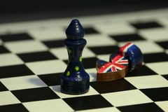 Chess figure confrontation  United Europe and Britain. Chess game minimal concept of confrontation of United Europe and Britain, end of Brexit Stock Images